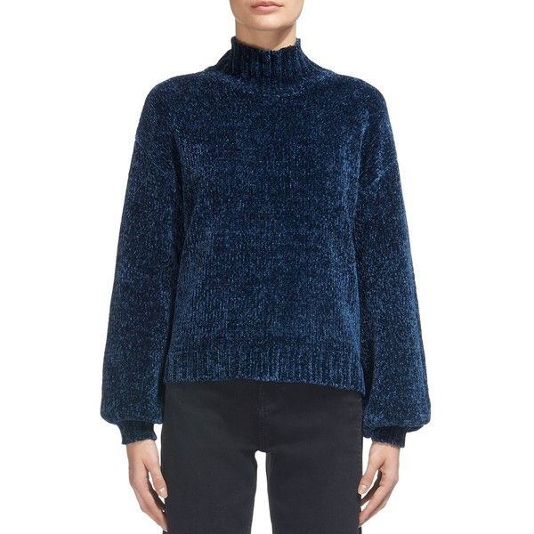Whistles Chenille Mock-Neck Puff-Sleeve Sweater (€230) ❤ liked on Polyvore featuring tops, sweaters, teal, whistles tops, chenille sweater, puff sleeve sweater, teal sweater and puffed sleeve top