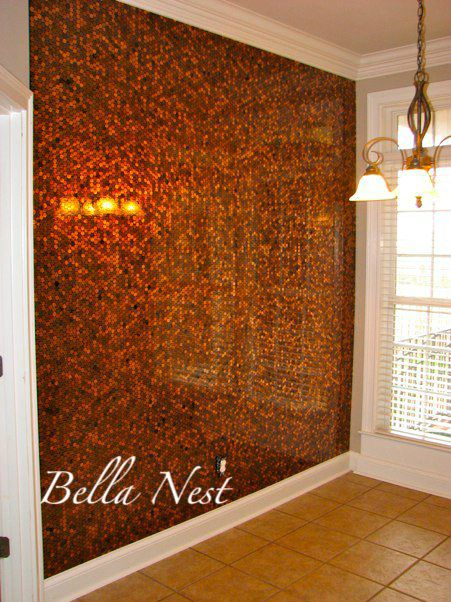 "Penny wall! Pennies applied to MDF while lying flat. Then covered with bar top epoxy for the gorgeous ""underwater"" effect."