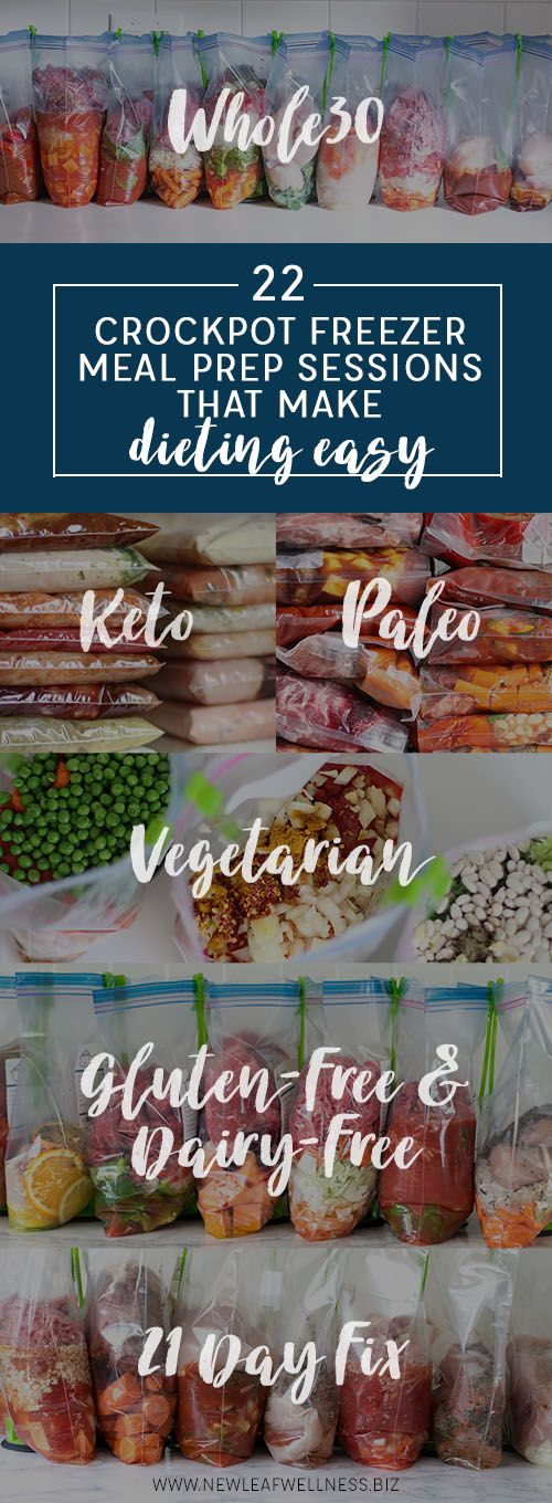 """Are you starting a new diet this year? Here are some of my crockpot freezer meal prep sessions that will make life easier for you. During the """"prep session,"""" all you need to do is assemble the ingredi"""