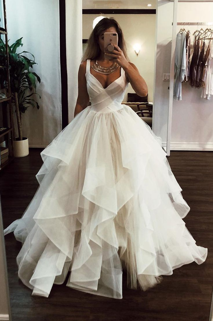 Elegant Floor Length Cascading Ruffles Wedding Dress, Ivory Long Wedding Dress