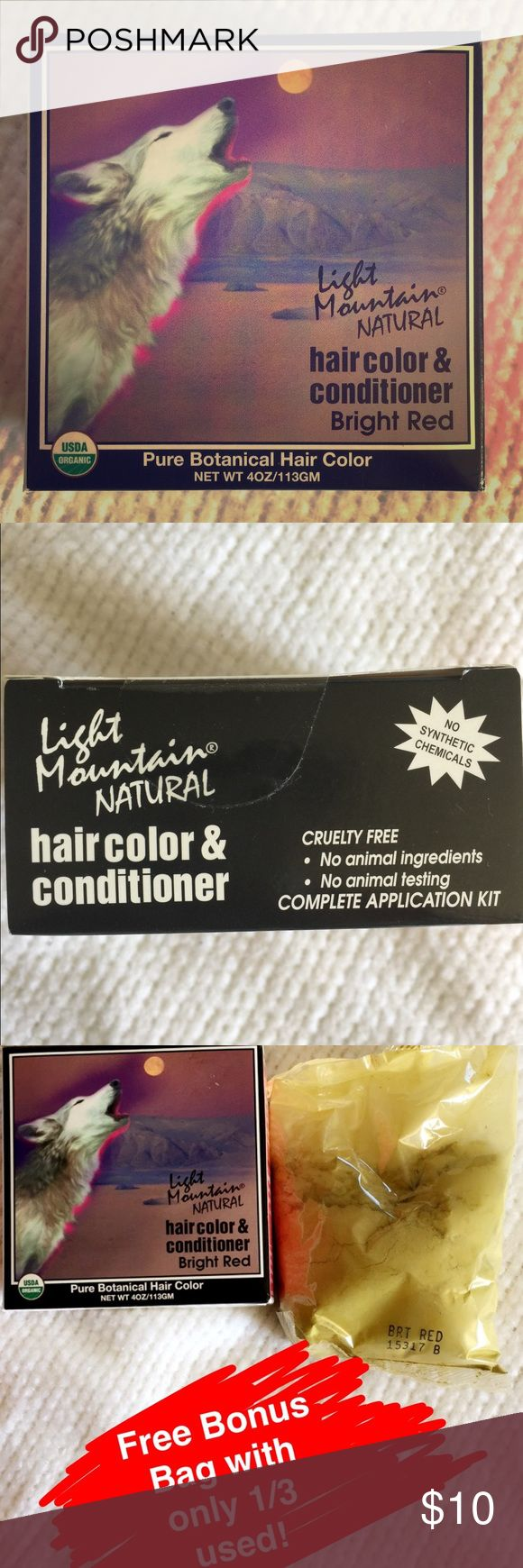 All Natural Organic Hair Dye Bright Red. Henna🍃 Plant-based hair color and conditioner. 💁🏽💁🏼♂️No chemicals, 🚫no synthetic ingredients but permanent results💪🏽. Leaves hair conditioned and super soft. Color is bright red. Comes with 1 full complete application kit AND free bonus kit that I used only once. Multiple uses per box Makeup