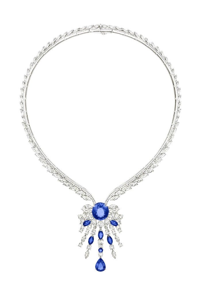 From the Extremely Piaget collection, a necklace in 18K white gold set with 51 marquise-cut diamonds, 1 oval-cut blue sapphire, 416 brilliant-cut diamonds, 5 marquise-cut blue sapphires, 1 pear-shaped blue sapphire and 1 round blue sapphire (Photo courtesy of Piaget)