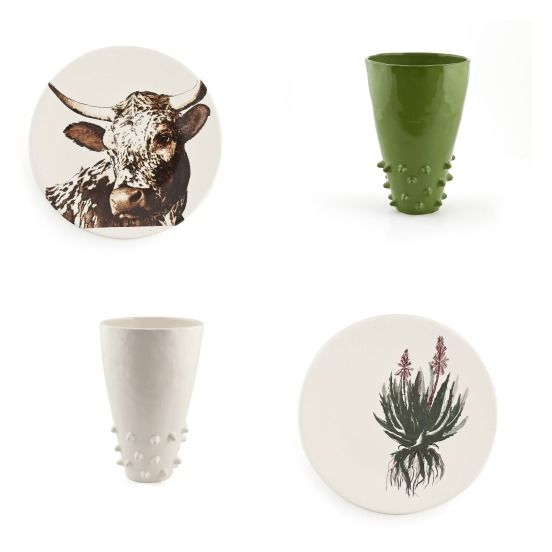 Ceramic pieces by Mervyn Gers from the Mr Price Home Colab series