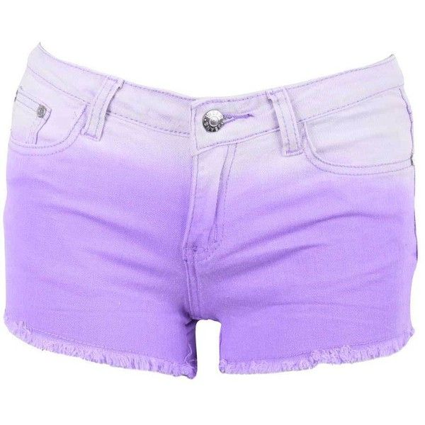 Purple Dip Dye Shorts (17 AUD) ❤ liked on Polyvore featuring shorts, bottoms, pants, short, denim shorts, short cotton shorts, frayed shorts, frayed jean shorts and cotton shorts