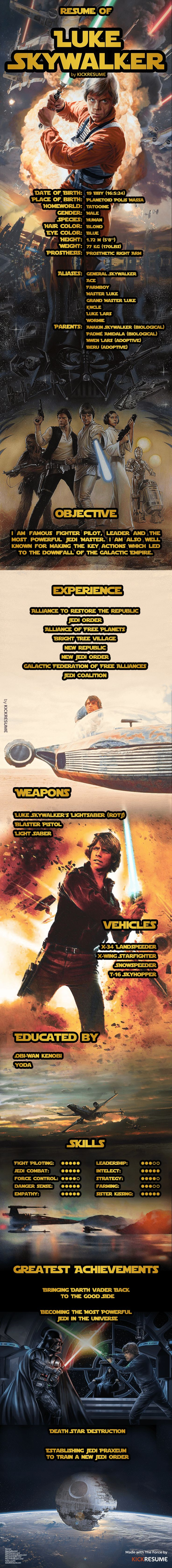 Here is The Resume of Luke Skywalker