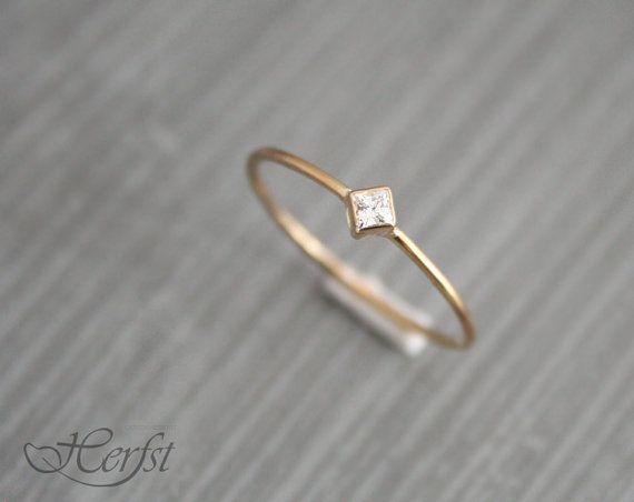 14k Diamond solid gold ring engagement ring by GoudsmederijHerfst