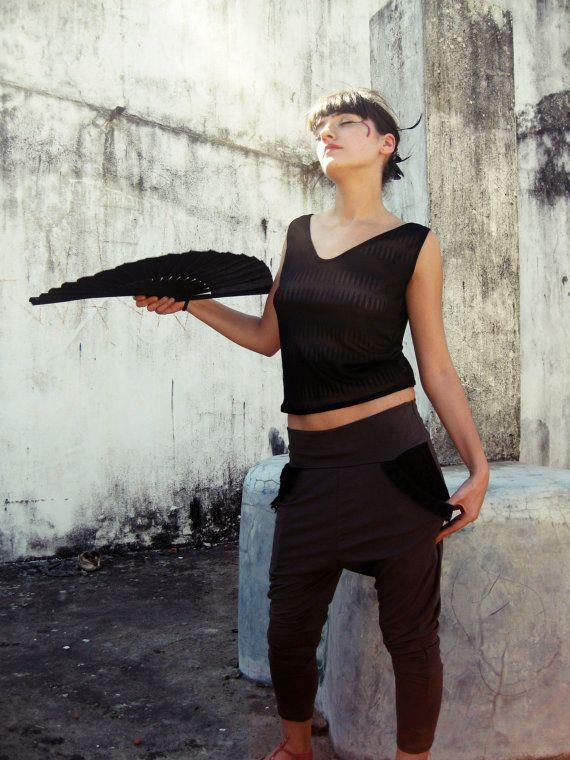 Drop crotch pants / Women Harem pant / Brown pants by Picarona
