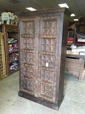 Antique-Wardrobe-Armoire-Lotus-Floral-Carved-Doors-Indian-Furniture-Storage