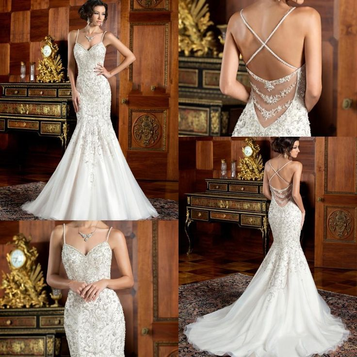 2016 Mermaid Kitty Chen Wedding Dresses Spaghetti Strap Sleeveless Court Train Backless Luxurious Trumpet Bridal Gowns With Beadings A1756 Designer Bridal Dresses Gown For Wedding From Kemibridal, $247.24| Dhgate.Com