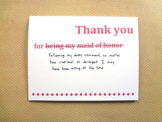 Thank You For Being My Sister Quotes: Funny Maid Of Honor Thank You Card For Wedding By