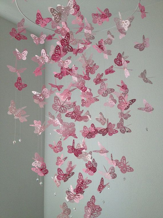 Monarch Erfly Chandelier Mobile Perfectly Pink By Dragononthefly On Etsy