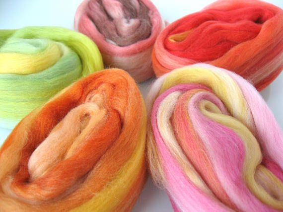 New: Candy mix  5 Blends of Merino Wool 19 microns.  for