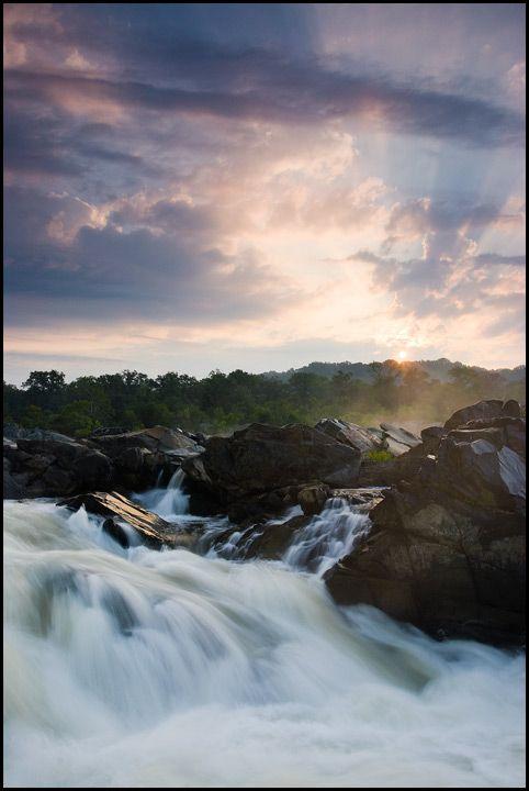 Sunrise on the Potomac River, Great Falls National Park, Virginia.