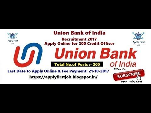 Union Bank of India Recruitment 2017 / 200 Credit Officer Posts
