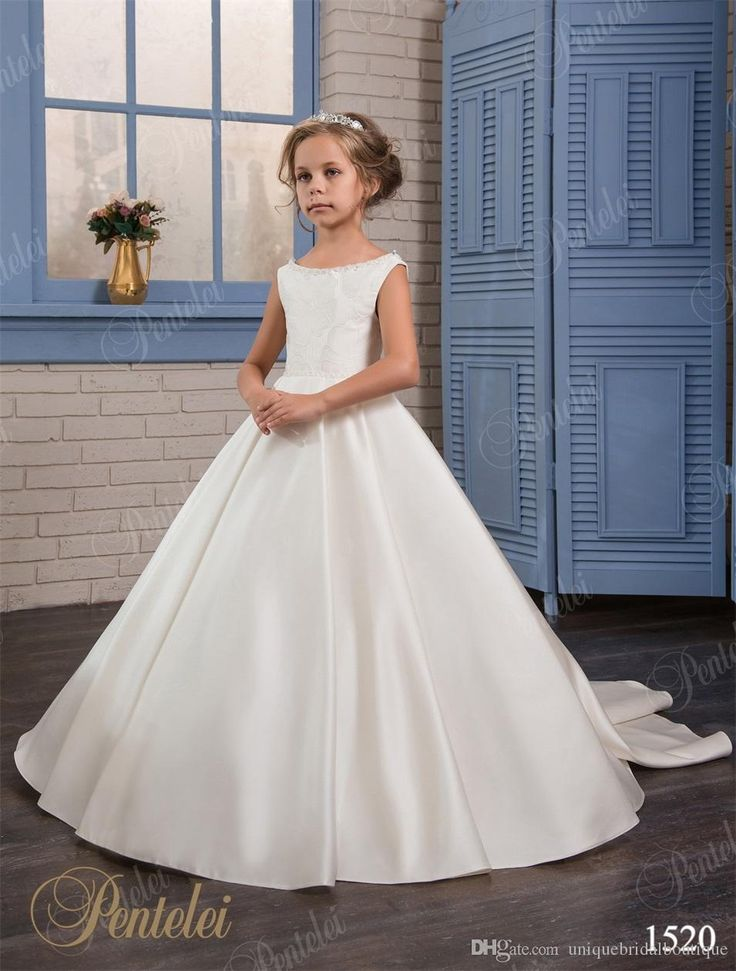 Girls wedding dresses 2017 pentelei with beaded neck and for Dresses for girls for a wedding