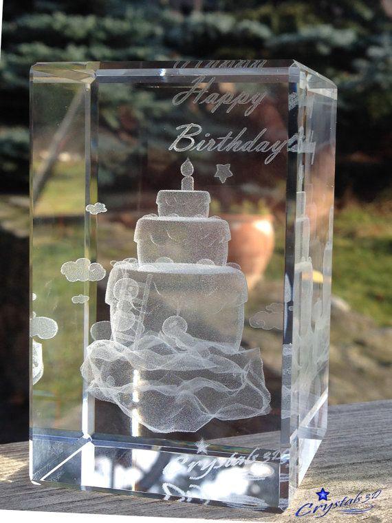 Crystal 3d birthday cake / 1st birthday by Crystals3DEngraving