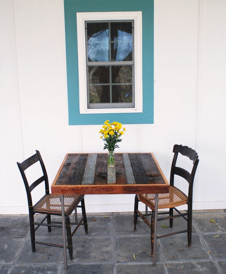 Card Table Makeover with Reclaimed Wood...just do it with different legs maybe?