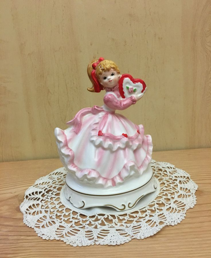 "Lefton Valentine Music Box Girl with Red Heart Shaped Chocolate Candy  Pink Dress plays ""My Funny Valentine"" by Anaforia on Etsy"