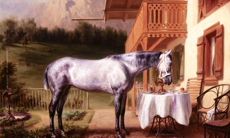 """König Ludwig II. ließ seine Lieblingspferde von Friedrich Wilkem Pfeiffer an ihrem jeweiligen Einsatzort porträtieren. Hier: """"Cosa Rara"""". Das Bild ist heute im Marstallmuseum Schloss Nymphenburg zu sehen."""