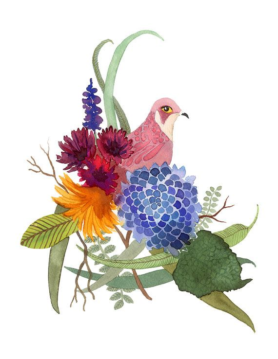 pink bird with flowers watercolor / art print by courtneyoquist, $15.00