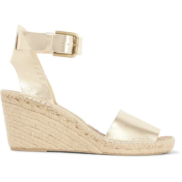 Soludos - Metallic Leather Wedge Espadrilles ($75) ❤ liked on Polyvore featuring shoes, sandals, silver, espadrille sandals, metallic platform sandals, summer sandals, espadrille wedge sandals and leather platform sandals