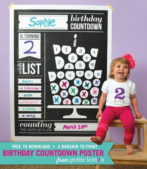Petite Lemon Presents: Birthday Party Countdown Poster Freebie | Petite Lemon Blog