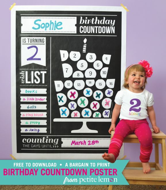 Petite Lemon Presents: Birthday Party Countdown Poster Freebie | Petite Lemon Blog