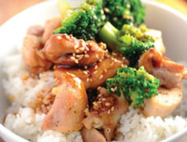 Chicken Teriyaki Rice Bowl 2 Cups White Rice 2-1/2 Cups Water 4 Chicken Tenders 3 Cups Broccoli 4-1/2 Tbsp. Teriyaki Sauce 4 Tbsp. Green Onions, Thinly Sliced