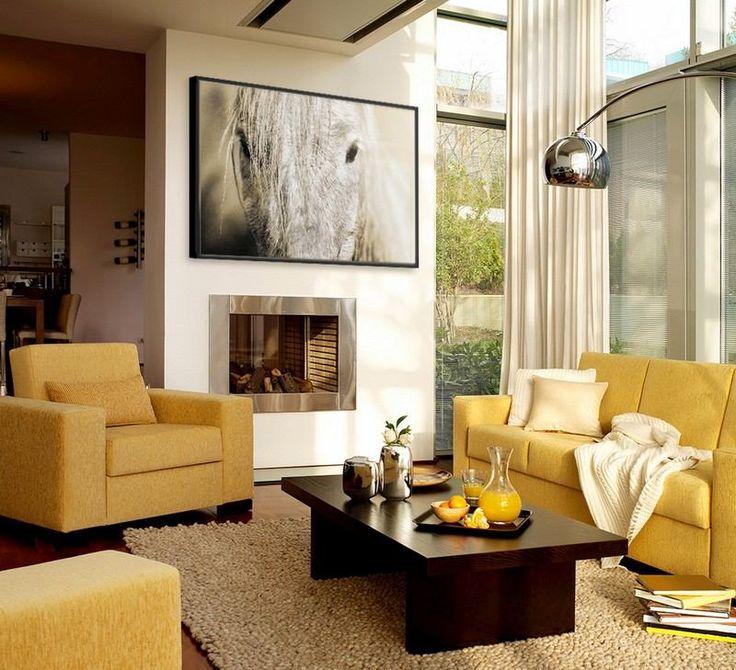 modernes wohnzimmer in beige braun und gelb