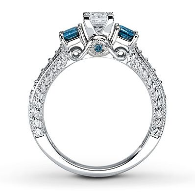blue diamond ring from kay jewelers beautiful - Wedding Rings At Kay Jewelers