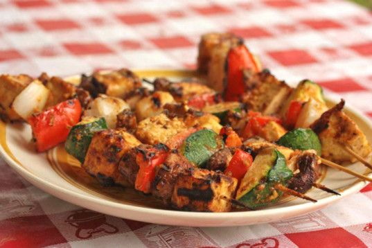 Tofu Vegetable Kebabs with Peanut Sauce Kebabs are one of the perfect grill foods because they combine veggies, sauce and protein all on one stick. Add a marinade or a peanut sauce to your Tofu Veggie Kebabs and maybe a side salad or some quinoa and you'll have a complete meal. You could even skewer everything beforehand, making dinner a breeze to cook on the grill.