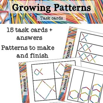 This resource is a collection of task cards that show the first three stages of a growing number pattern. On each task card there is space for the student to make the next stage of the pattern.Use these task cards with matchsticks/toothpicks, paddlepop sticks or counting sticks.Encourage your students to find the rule and starting number, or write the number pattern eg 4, 8, 12, 16.This resource contains 15 task cards for increasing number patterns and an answer key.Visit my blog at…