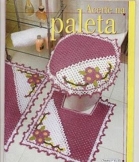 Soniando...: Jogo de Banheiro em Crochê Rosa e Branco - com gráficos com ótima resolução