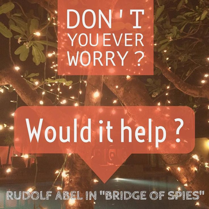 Don't you ever worry? Would it help? Rudolf Abel in #bridgeofspies #chrismulzer #nlp #kikidan #quote