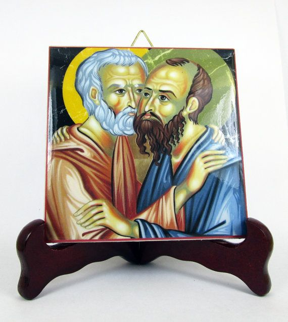Saint Peter and Paul Apostles ceramic tile St. by TerryTiles2014