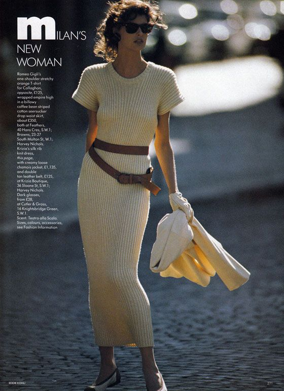 lalinda-evangelista: VOGUE UK 1987 MILANS NEW WOMAN ph. Eddie Kohli Model: Linda Evangelista