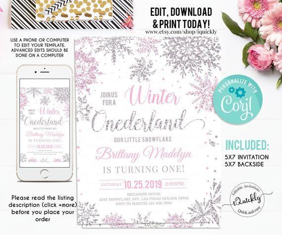 winter ONEderland 1st birthday invitation girl EDITABLE FILE pink white silver snowflakes one-derland first birthday instant download