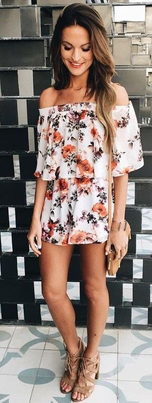 White Floral Romper                                                                             Source