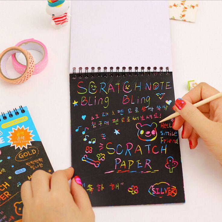 Creativo cuaderno de dibujo mágico libro DIY notebook arañazos de cartón negro regalo de la novedad para los niños material escolar papelería en Libretas de Escuela y Oficina en AliExpress.com | Alibaba Group