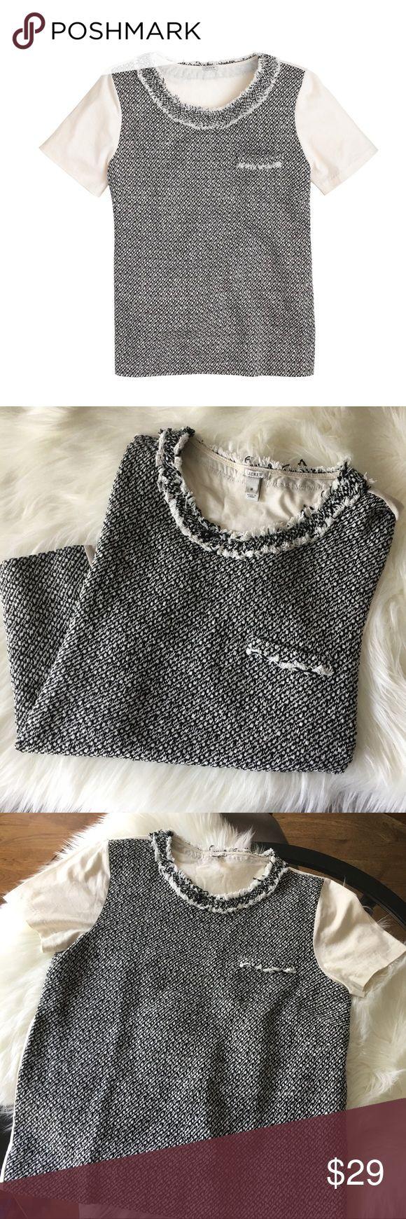 Tweed-Front Tee in Black J. Crew Size M Super cute tweed tee with pocket detailing. Size M J. Crew Tops Blouses