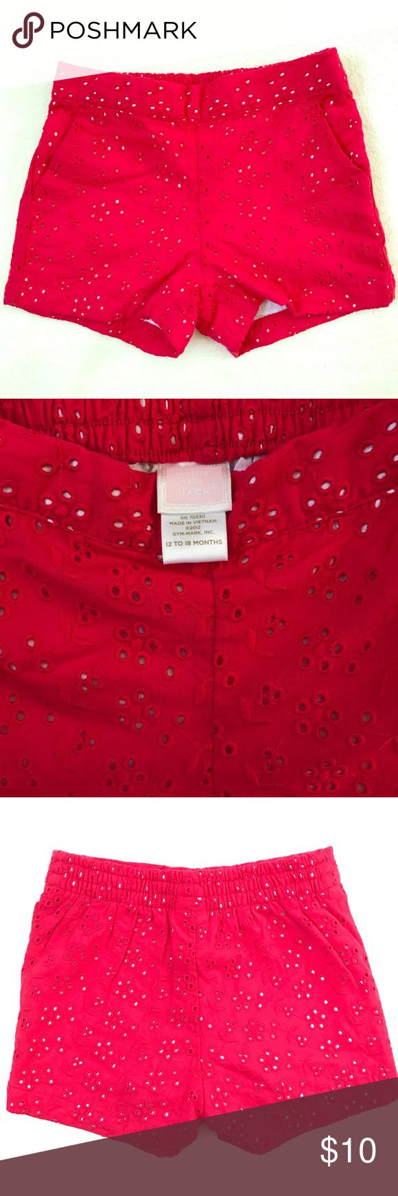 Janie and Jack Red Eyelet Shorts Janie and Jack Red Eyelet shorts. Never worn, in perfect condition! Size 12-18 Months, runs big. Janie and Jack Bottoms Shorts