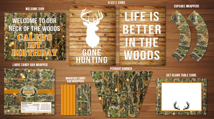 Printable Camo Hunting Party Package | DIY Birthday Decorations | View the entire package on the site! | Deer | Elk | Adult or Kid Invitation Available | Thank You Card | Hunting Season Signs | Banner | Cupcake Toppers | Favor Tag | www.dazzleexpressions.com