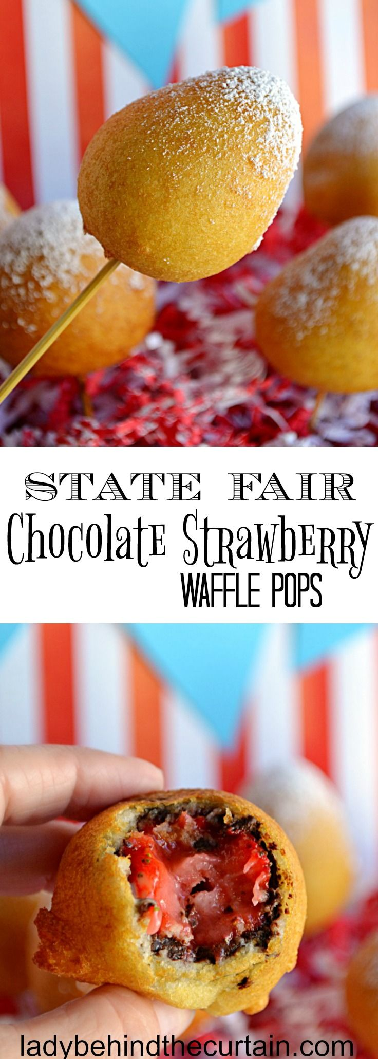 State Fair Chocolate Strawberry Waffle Pops | carnival party, state fair party, circus party, chocolate recipe, strawberry recipe, waffle recipe