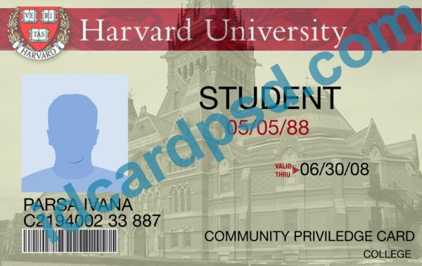 Harvard University Id Card Psd Template You Can Put Any Name