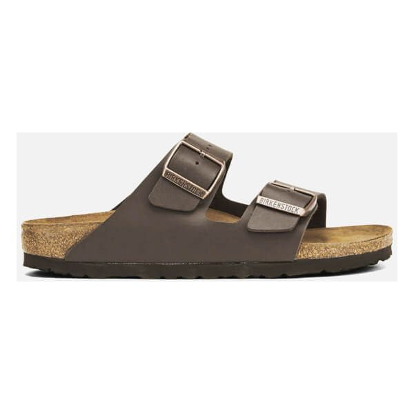 Birkenstock Women's Arizona Slim Fit Double Strap Sandals - Dark Brown (€68) ❤ liked on Polyvore featuring shoes, sandals, brown, summer sandals, brown shoes, dark brown shoes, double strap flat sandals and flat shoes