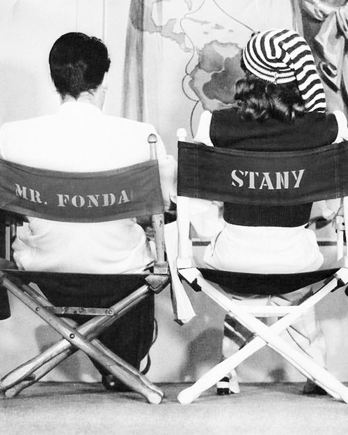 Barbara Stanwyck and Henry Fonda photographed on the set of The Lady Eve, 1941