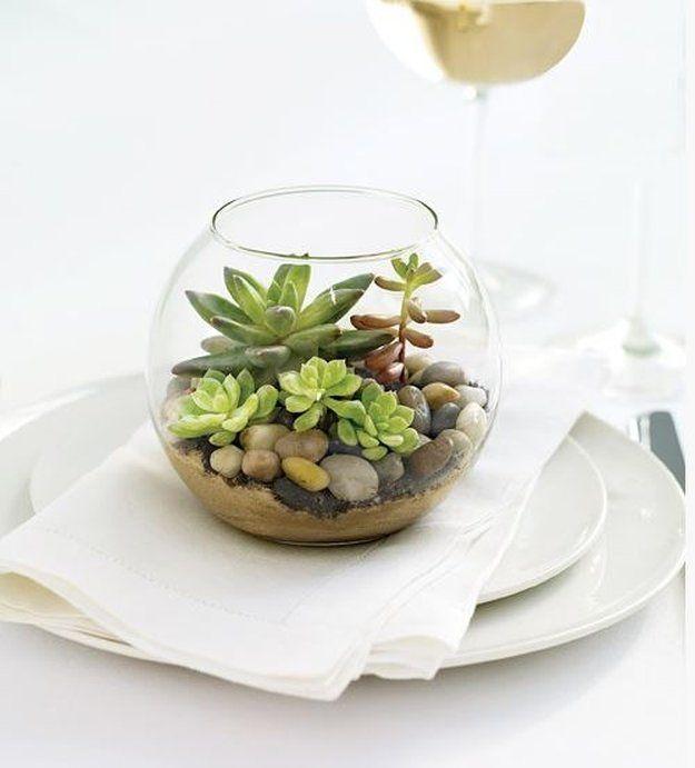 Fish Bowl Terrarium| 14 DIY Plant Terrarium Ideas | Mini Terrariums You Can Make Yourself see more at http://diyready.com/14-diy-plant-terrarium-ideas-mini-terrariums-you-can-make-yourself