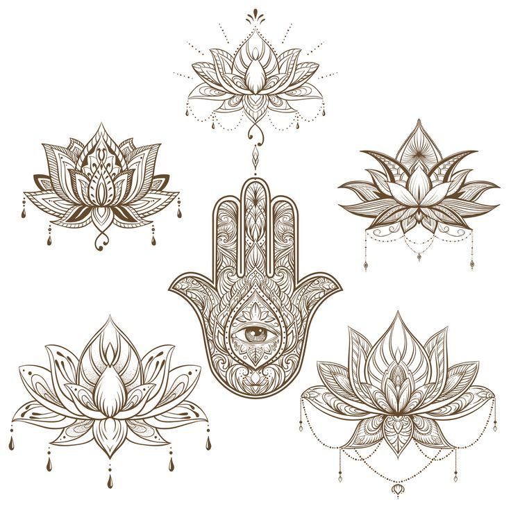 Find vectorial images of lotus flower and hamsa set. Vector. boho style, yoga, india, sketch for tattoo in HD and millions of other ph …