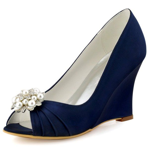 Elegantpark WP1549 Women Wedding Shoes Peep Toe AE01 Removable Shoe Clips Satin Bridal Wedges Navy Blue US 8