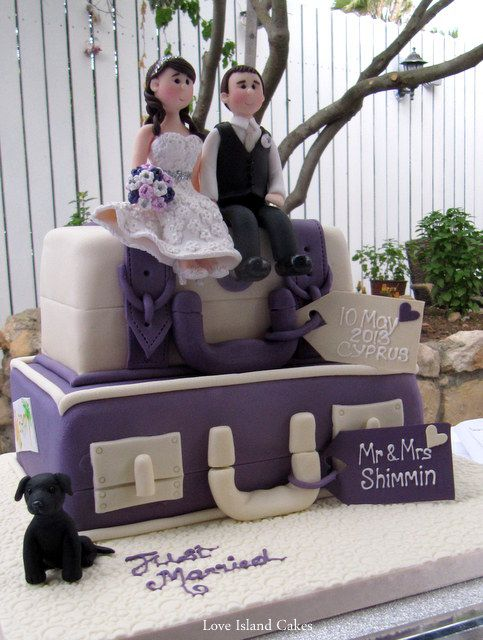 PURPLE IVORY SUITCASE WEDDING CAKE Deep Purple Ivory Stacked Suitcases With Sugar Tags And